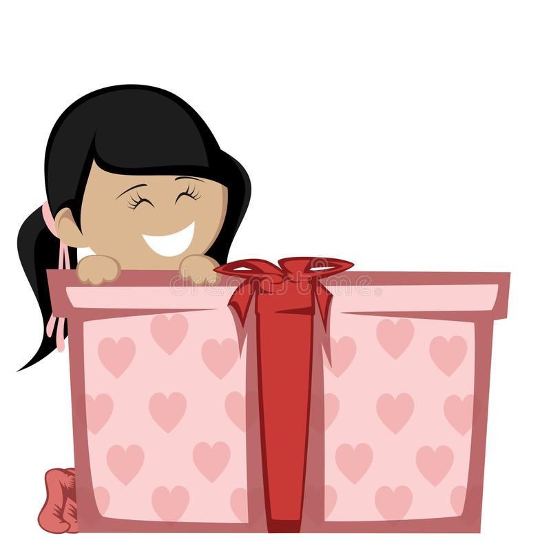 Big box surprise. A black haired girl in socks smiling with a big gift box stock illustration