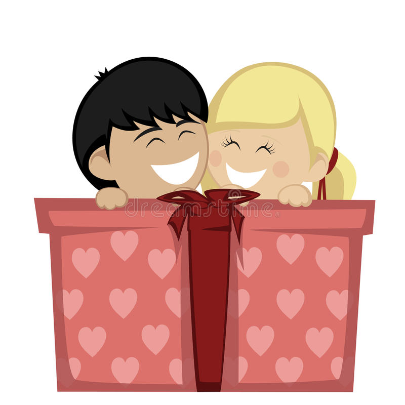Big box surprise. A blonde girl and a black haired boy huddling and smiling with a big gift box stock illustration