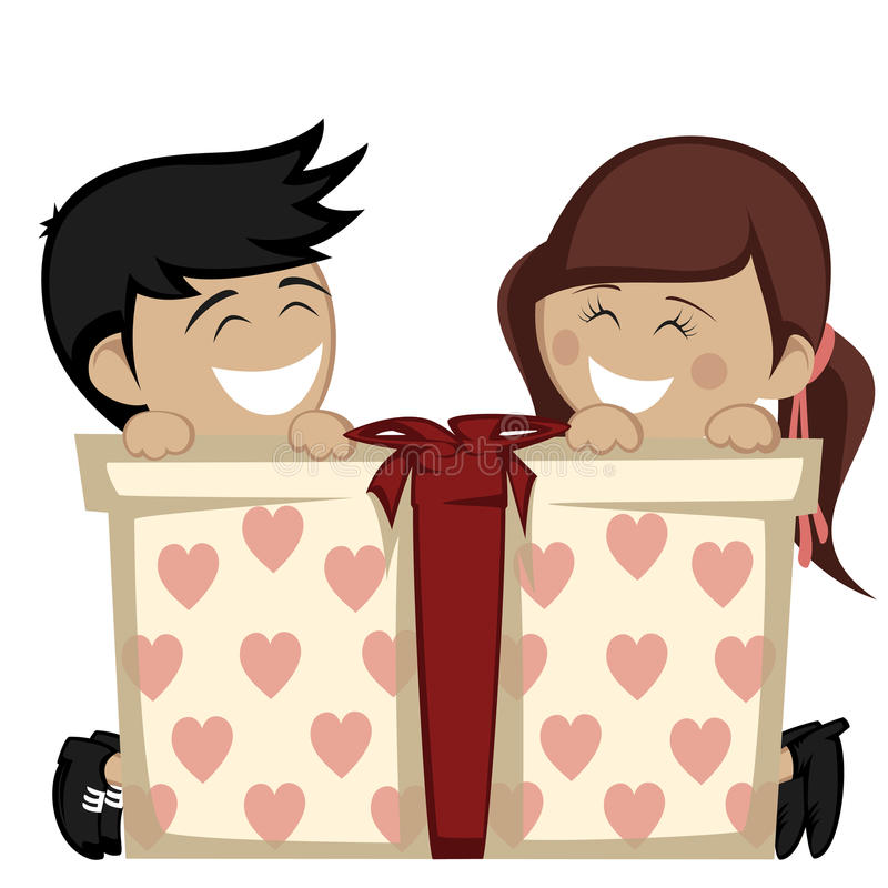 Big box surprise. A brunette girl and a black haired boy smiling with a big gift box royalty free illustration