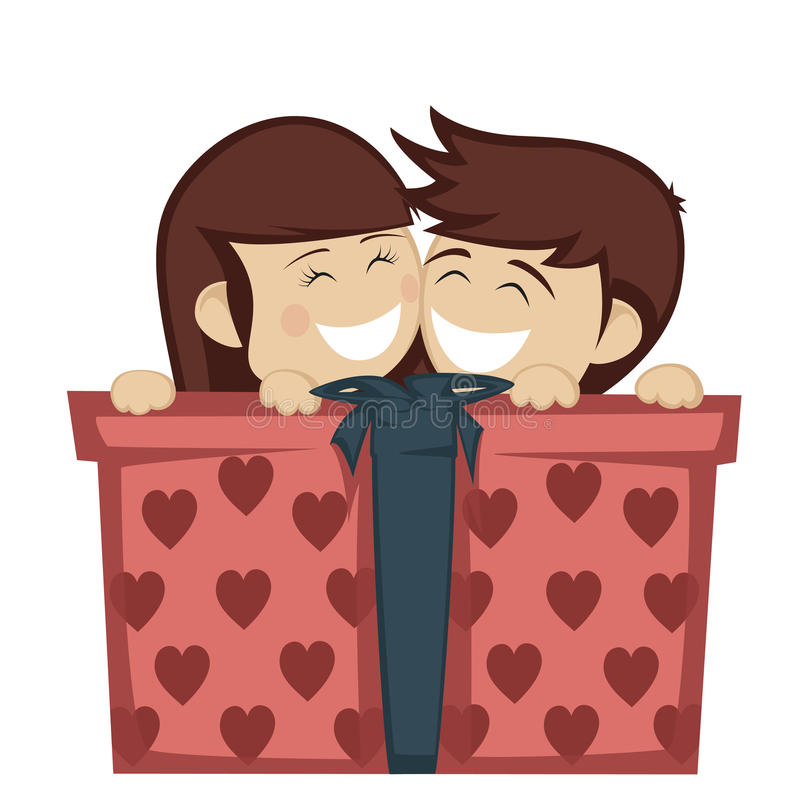 Big box surprise. A brunette girl and boy huddling and smiling with a big gift box royalty free illustration