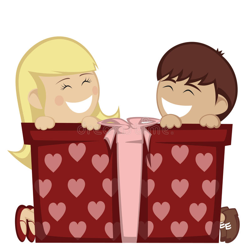 Big box surprise. A little blonde girl and a brown boy smiling with a big gift box stock illustration