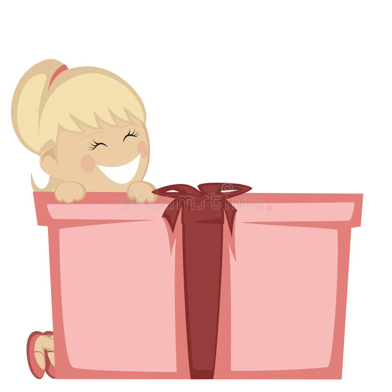 Big box surprise. A pretty blonde girl smiling with a big gift box stock illustration