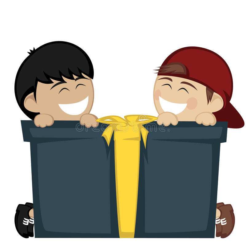 Big box surprise. Two little boy smiling with a big gift box vector illustration