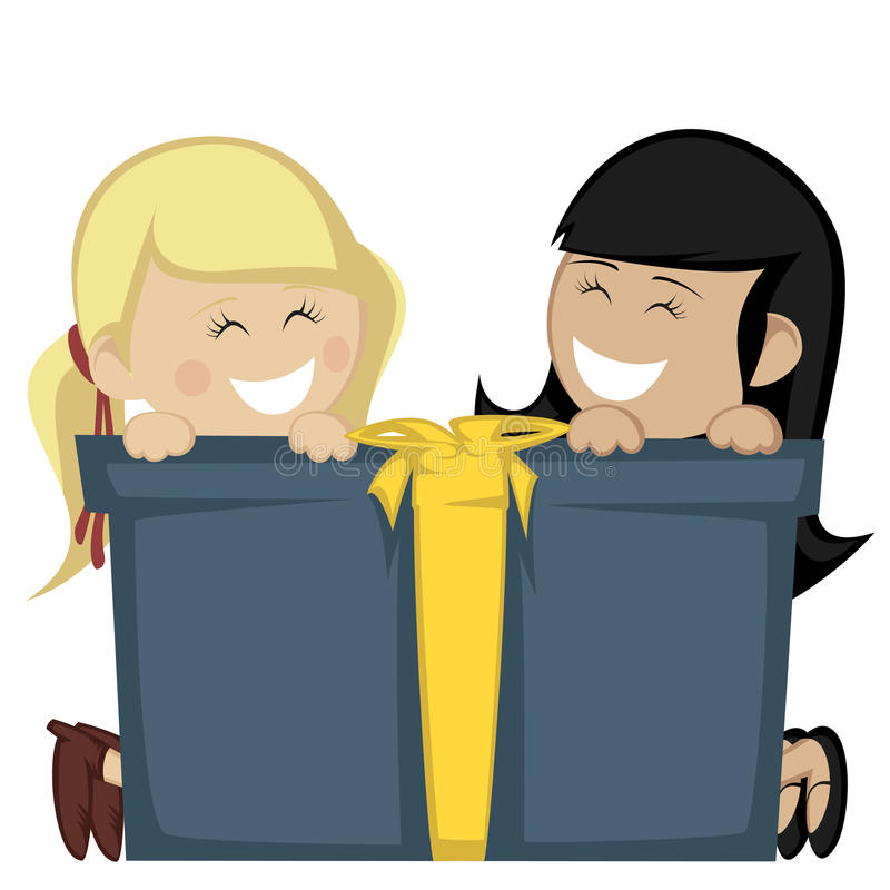 Big box surprise. Two little girl (blonde and black haired) smiling with a big blue gift box vector illustration