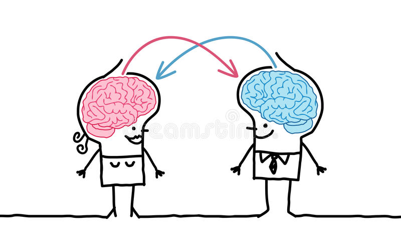 Big brain couple & exchange stock illustration
