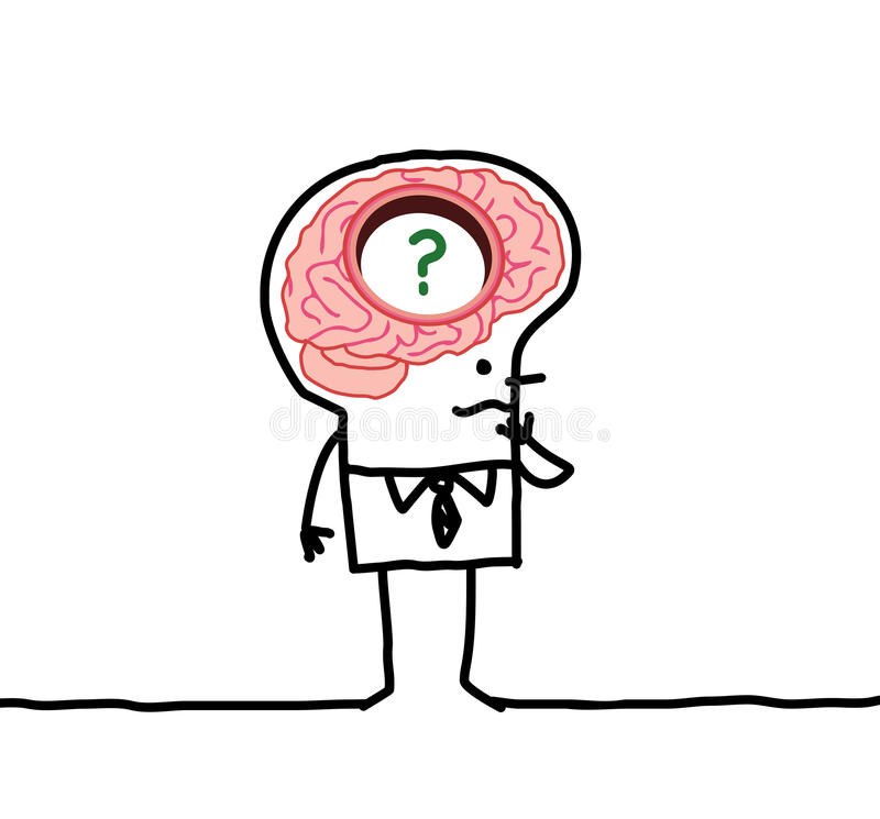 Big brain man & memory desorders stock illustration
