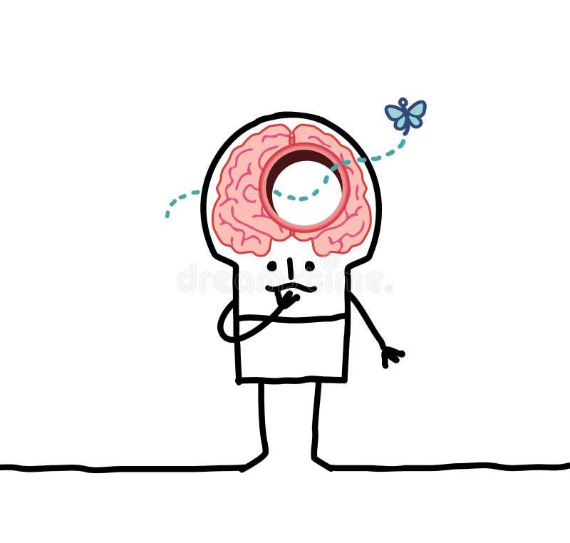 Big brain man & memory desorders vector illustration