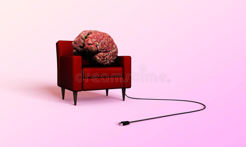 Download Big Brain Relaxing In A Red Armchair Stock Illustration - Image: 26888056