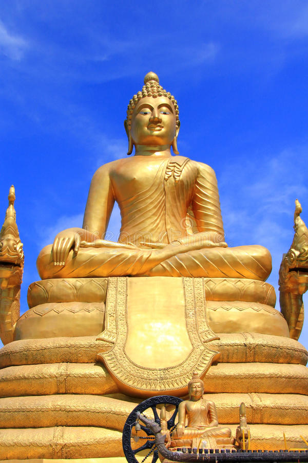 Big Brass Buddha Image in Phuket royalty free stock photography