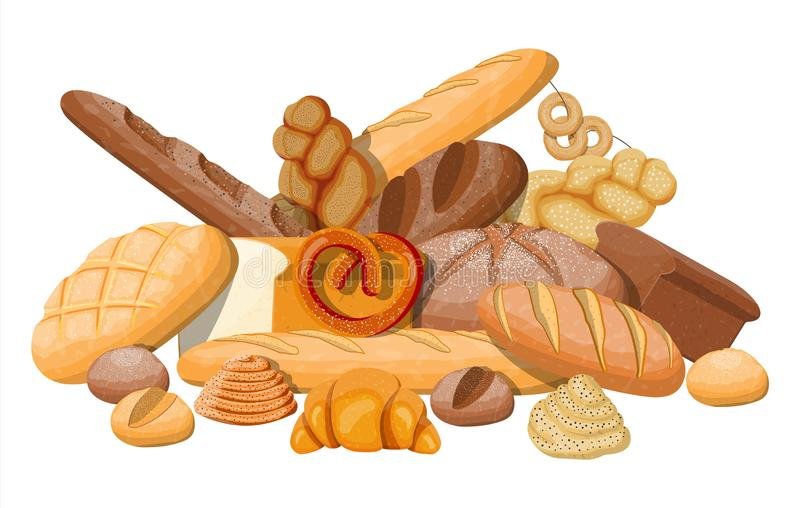 Big bread icons set. stock illustration
