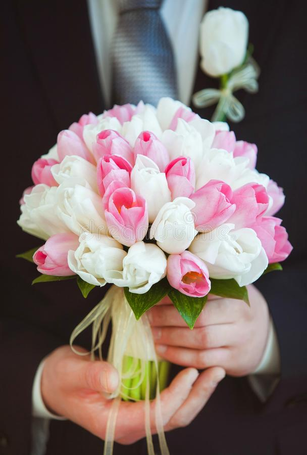 Big bridal bouquet. Of white and pink fresh tulips in hands of groom in black suit. Vertical color photography royalty free stock images