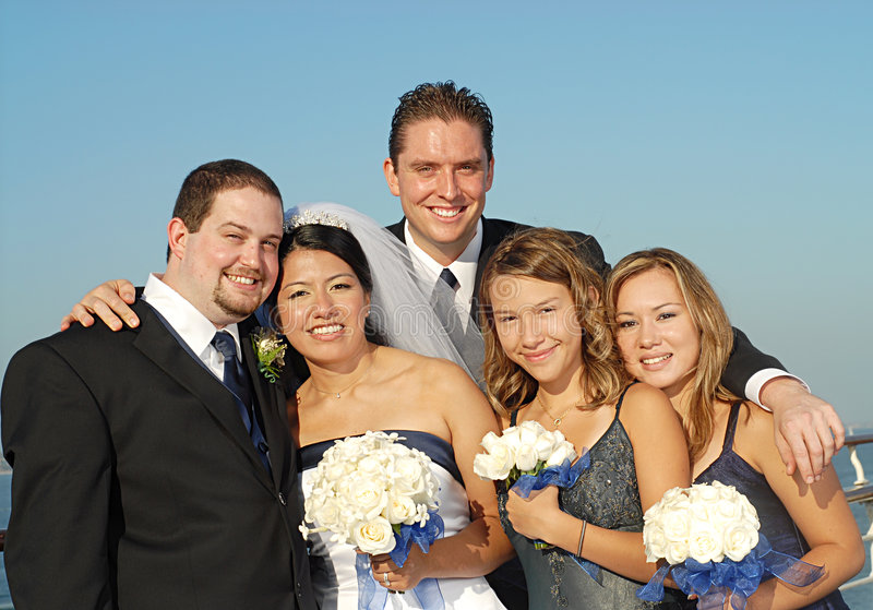 Big bridal party stock photography