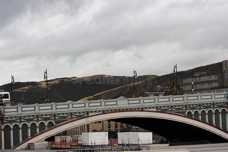A big bridge in Edinburgh. 2018. Beautiful view of image. United Kingdom. A big bridge of Edinburgh stock image