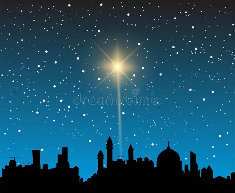 Big bright shining star. A bright bright shining star over a city on the night sky vector illustration