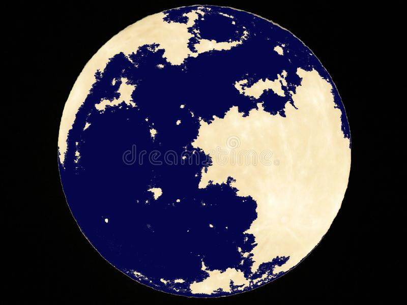 Big bright yellow planet and blue spots on clear black sky. Full moon, Earth, environment protection, planets, cosmos. Big bright yellow planet and blue spots royalty free stock photos