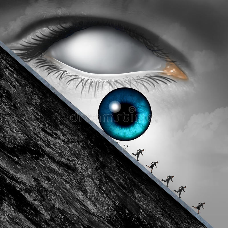Big Brother Concept. As a surveillance and government monitoring symbol with a giant eye rolling down a cliff with society in fear of the danger from being royalty free illustration