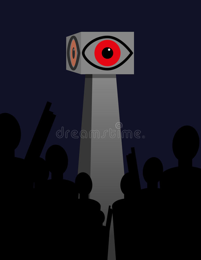 Big Brother Concept. Big Brother or government surveillance concept with a crowd of people in silhouette standing and pointing up at a tower surmounted by a royalty free illustration