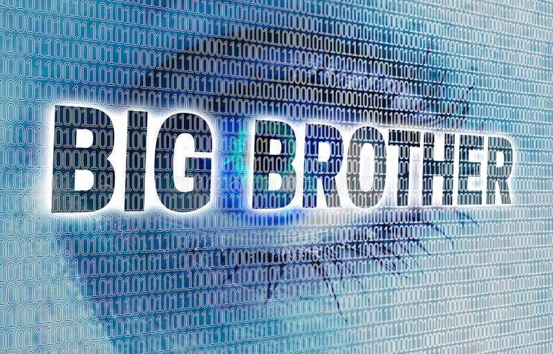 Big Brother eye with matrix looks at viewer concept.  royalty free stock photography