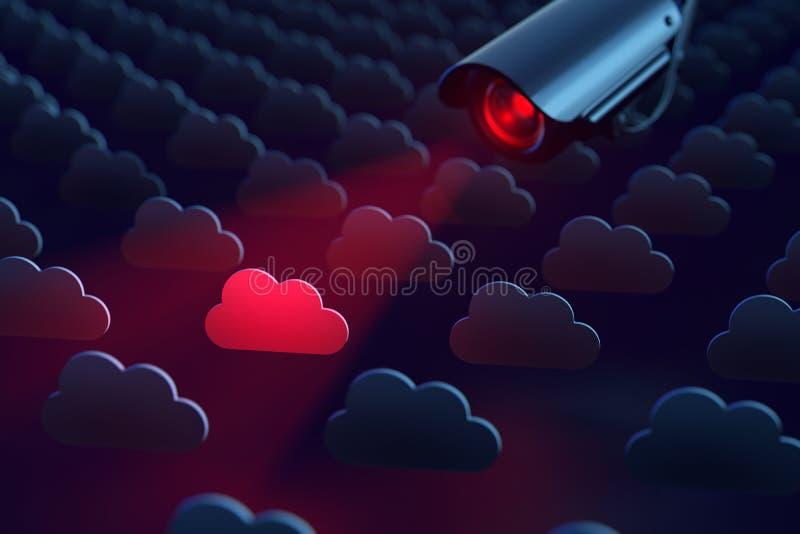 Big Brother let op: een camera tast wolkenopslag af die de privacy negeren Privacy en veiligheid bedreigd concept het 3d teruggev royalty-vrije stock foto