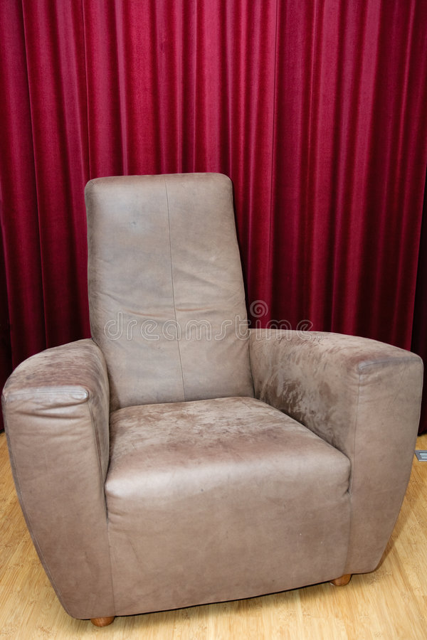 Download Big brown leather chair stock photo. Image of brown, curtain - 7580758