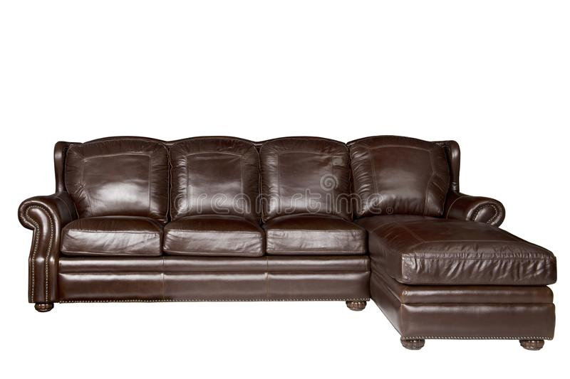 Big luxury leather sofa isolated on white. Big brown luxury leather sofa isolated on white royalty free stock photography
