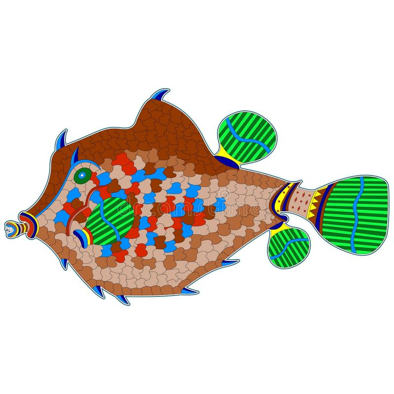 Big brown monster fish. A great design element or part of the decor vector illustration