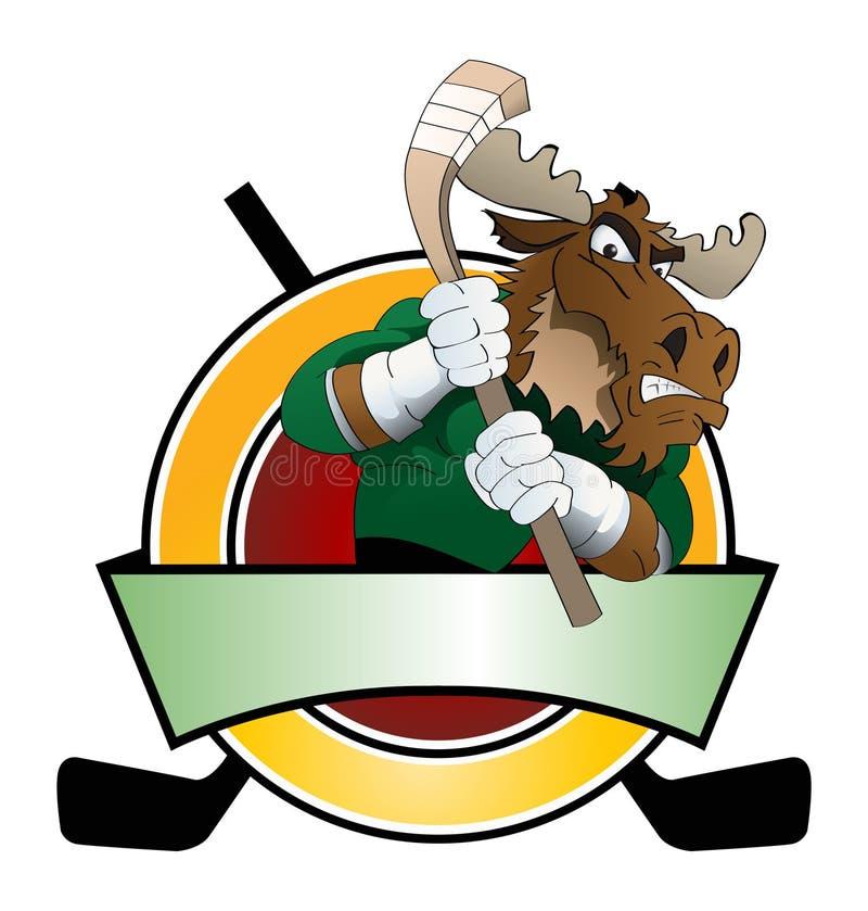 Big brown moose playing hockey ice logo. Illustration of a big brown moose playing hockey ice infront plate shield for logo stock illustration