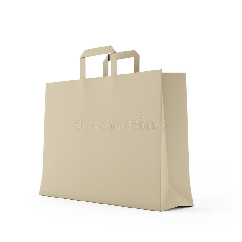 Big brown paper bag isolated on white. Background vector illustration