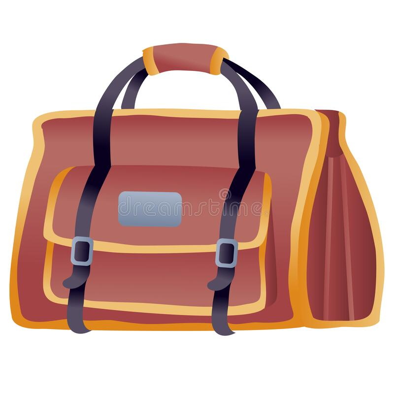 Big brown travel bag as hand luggage, isolated object on a white background, stock illustration