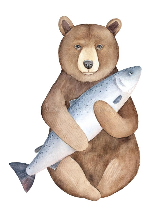 Big brown watchful bear character portrait holding huge gray fish. royalty free illustration