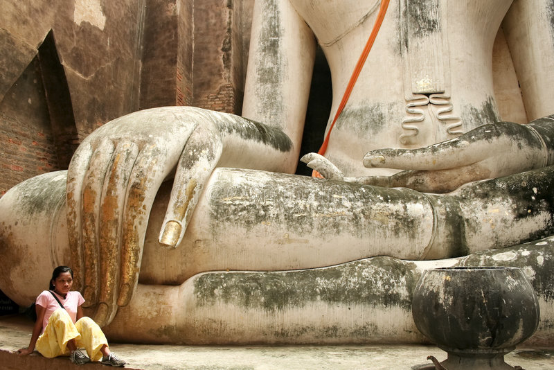 Big buddha girl sukhothai thailand stock photo