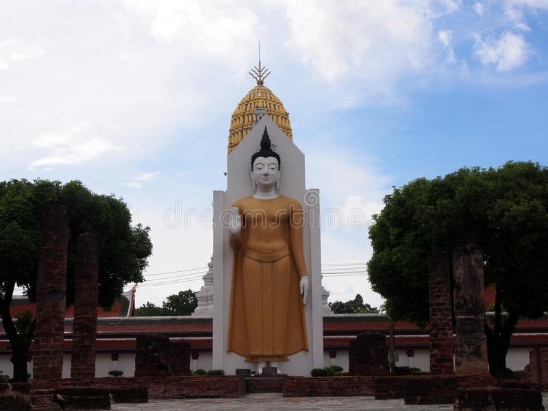 The Buddha in Phisanulok,Thailand. The big Buddha image , ancient style in Phisanulok,Thailand stock image