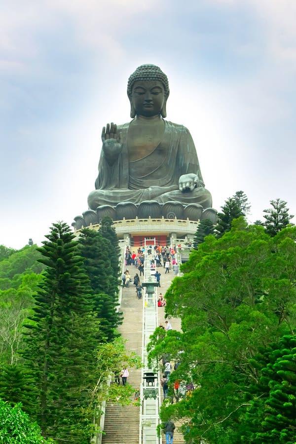 Big Buddha at Lantau island, staircase to statue. Big Buddha, staircase and trees near statue at Lantau Island, Hong Kong stock photo