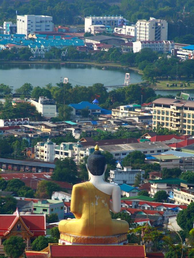 Big buddha protect the city stock photos