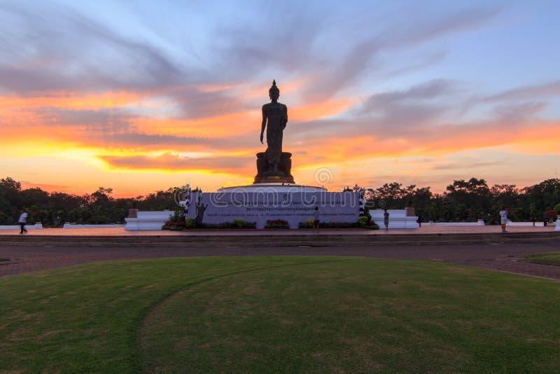 Big Buddha statue of Phutthamonthon public landmark in sunset time royalty free stock images