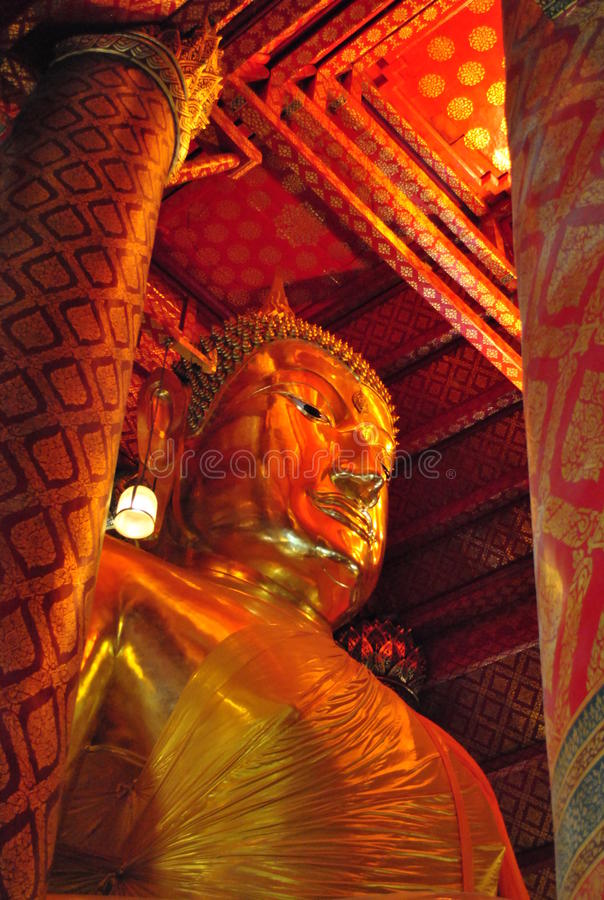 Big Buddha statue in Thai temple stock image