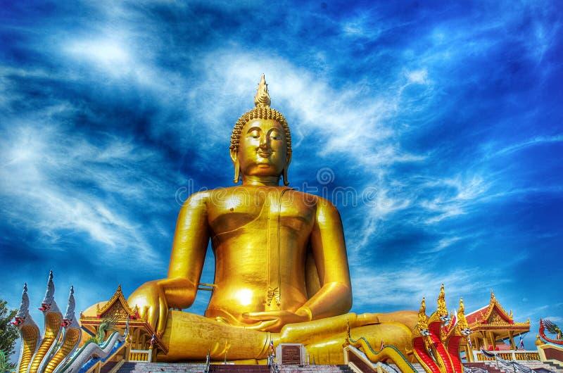 Blue Temple Wat Rong Sua Ten of Chiangrai. The big Buddha statue Wat Muang Thailand royalty free stock images