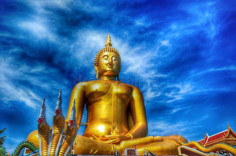 Blue Temple Wat Rong Sua Ten of Chiangrai. The big Buddha statue Wat Muang Thailand royalty free stock photography