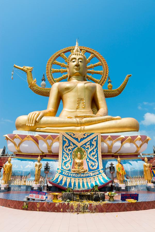Big Buddha statue in Wat Phra Yai Ko Fan on Samui island in Thai. SAMUI, THAILAND - 04 MAR 2013: Big Buddha statue in Wat Phra Yai Ko Fan on Samui island royalty free stock photo