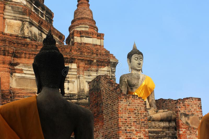 Big Buddha statues in the ancient temple Wat Phra Sri Sanphe. Ayutthaya, Thailand. stock photos