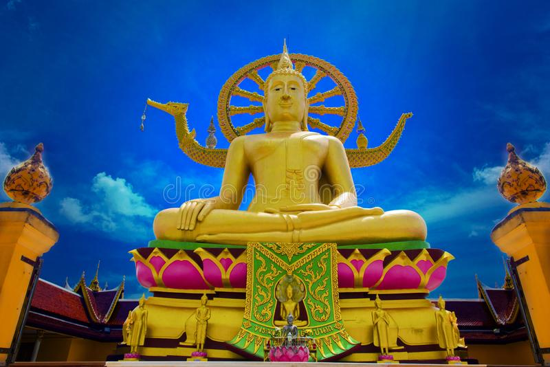 Big Buddha Temple at Koh Samui, Thailand. moist monastery Religious art stock images