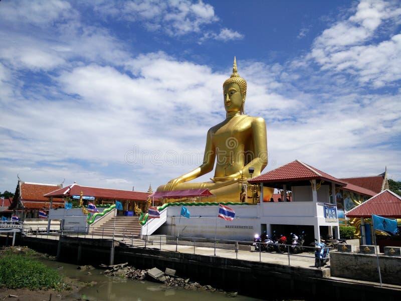 Big Buddha of Wat Bangchak at Nonthaburi Thailand. Wat Bangchak at Ko Kret, Pakkred, Nonthaburi, Thailand. Wat Bang Jak It is an old Raman (Mon) monastery on the stock images