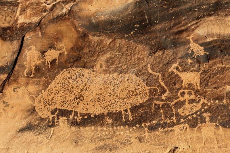 Big Buffalo Petroglyph stock image