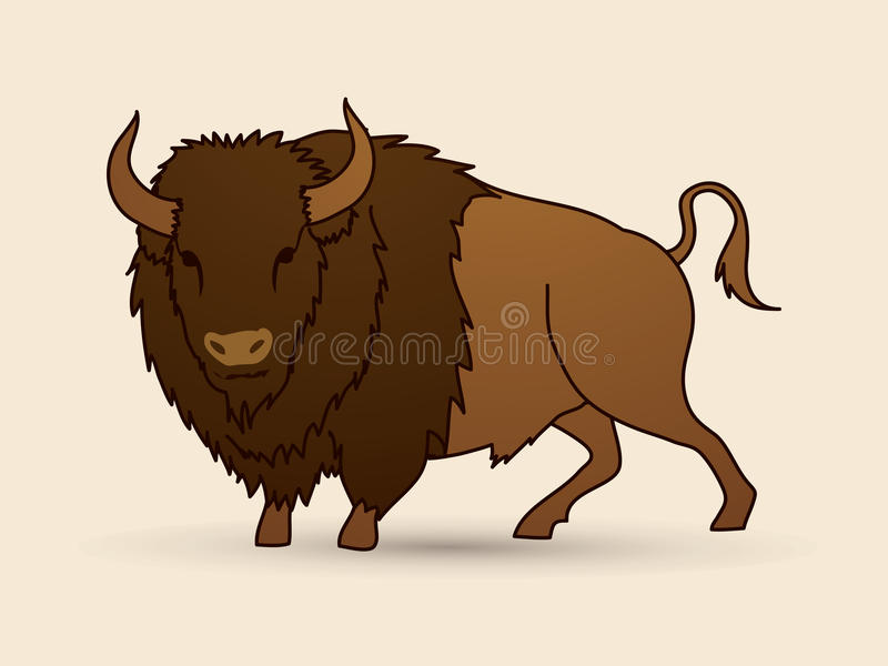Big Buffalo standing. Graphic vector royalty free illustration