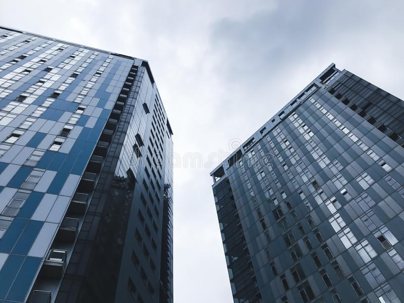 Big buildings in Kharkov city, Ukraine. High tech architecture.Bottom view royalty free stock photos