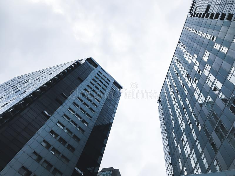 Big buildings in Kharkov city, Ukraine. High tech architecture.Bottom view royalty free stock photo