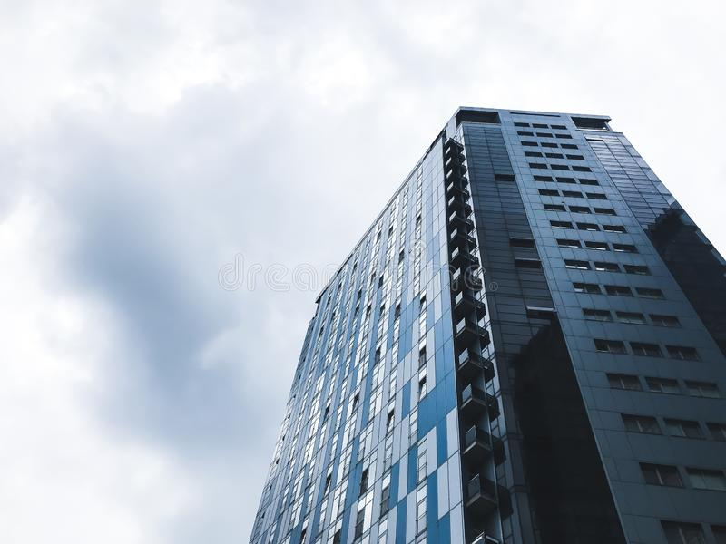 Big buildings in Kharkov city, Ukraine. High tech architecture.Bottom view royalty free stock image