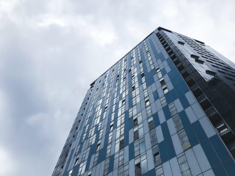 Big buildings in Kharkov city, Ukraine. High tech architecture.Bottom view stock photo
