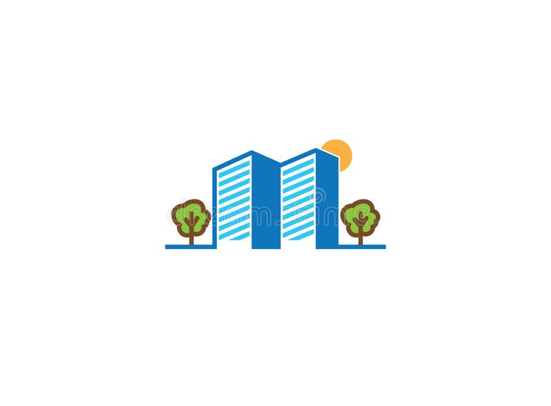 Big buildings with trees and sun for logo design royalty free illustration