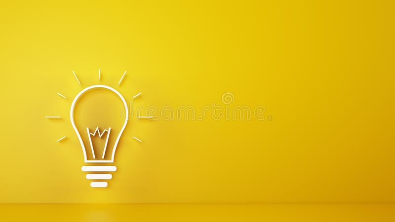 Big bulb light on a yellow background. 3D Rendering stock photos